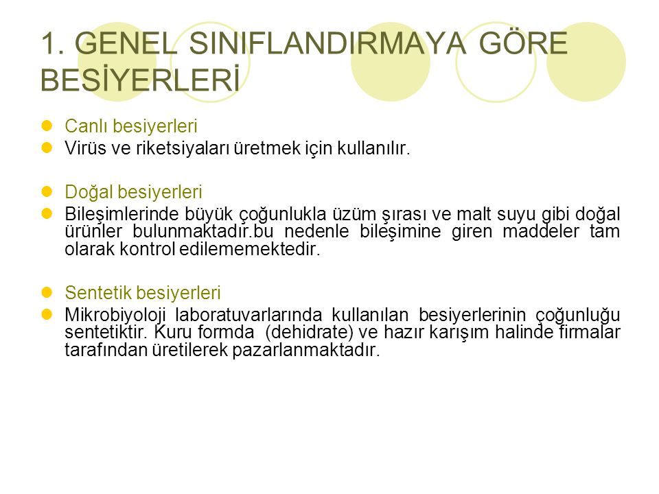 1. GENEL SINIFLANDIRMAYA GÖRE BESİYERLERİ
