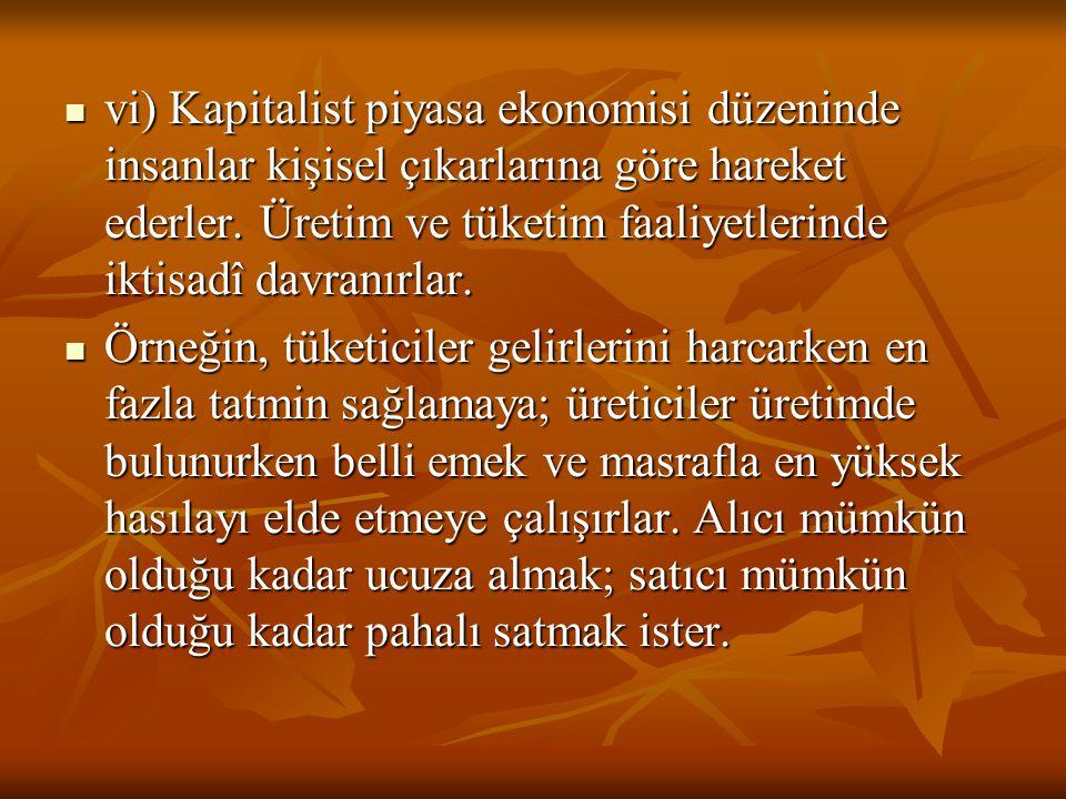 vi) Kapitalist piyasa ekonomisi düzeninde insanlar kişisel çıkarlarına göre hareket ederler. Üretim ve tüketim faaliyetlerinde iktisadî davranırlar.