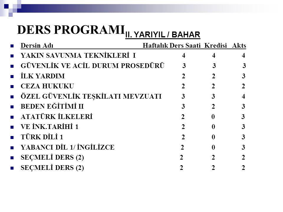 DERS PROGRAMI II. YARIYIL / BAHAR
