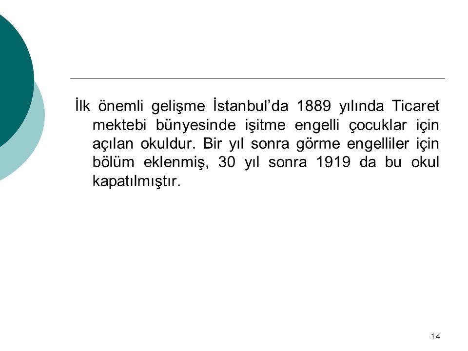 İlk önemli gelişme İstanbul'da 1889 yılında Ticaret mektebi bünyesinde işitme engelli çocuklar için açılan okuldur.