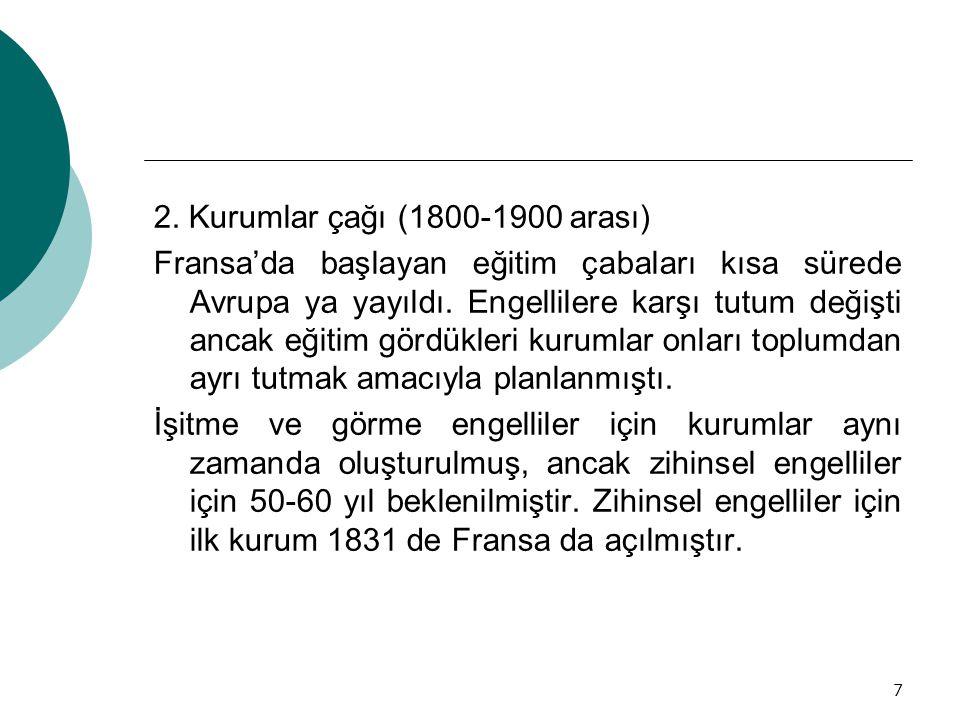 2. Kurumlar çağı (1800-1900 arası)