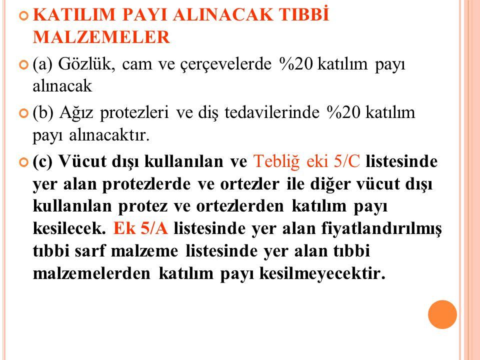KATILIM PAYI ALINACAK TIBBİ MALZEMELER