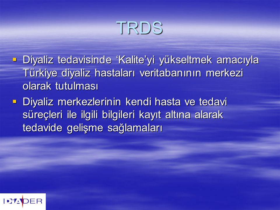 TRDS Diyaliz tedavisinde 'Kalite'yi yükseltmek amacıyla Türkiye diyaliz hastaları veritabanının merkezi olarak tutulması.