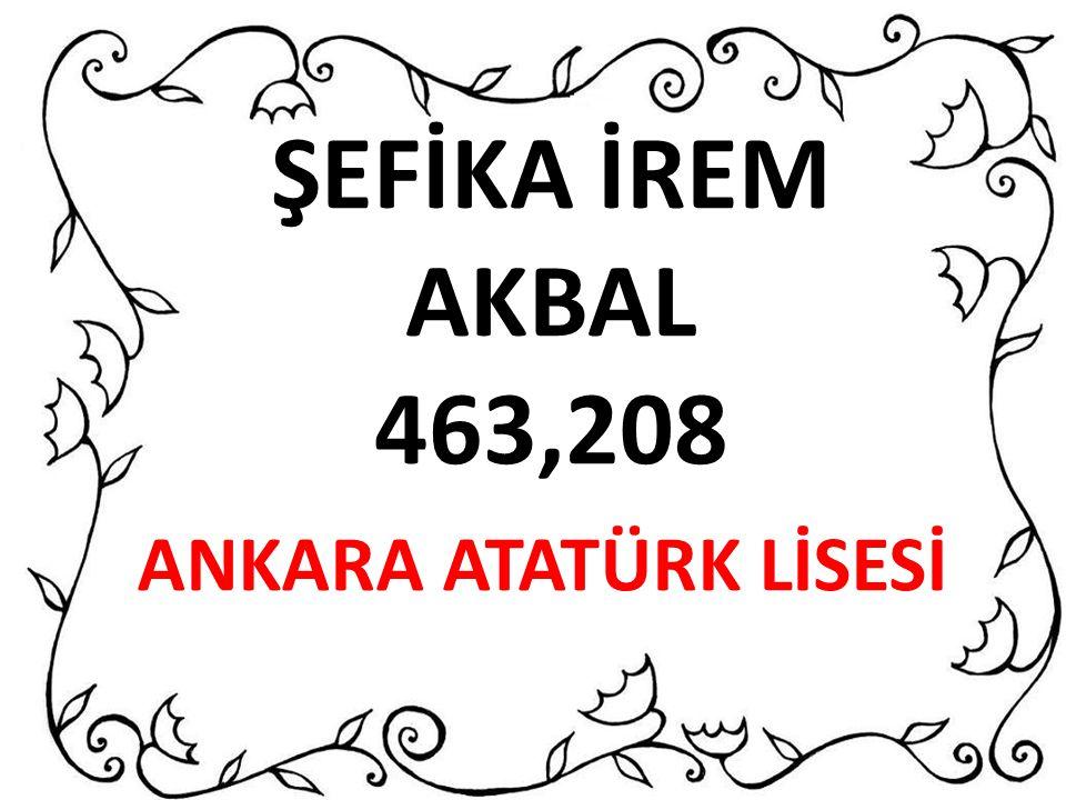 ŞEFİKA İREM AKBAL 463,208 ANKARA ATATÜRK LİSESİ