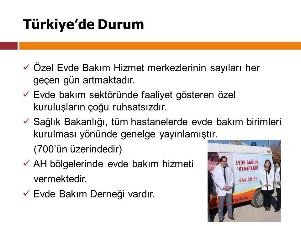Türkiye'de Durum Özel Evde Bakım Hizmet merkezlerinin sayıları her geçen gün artmaktadır.