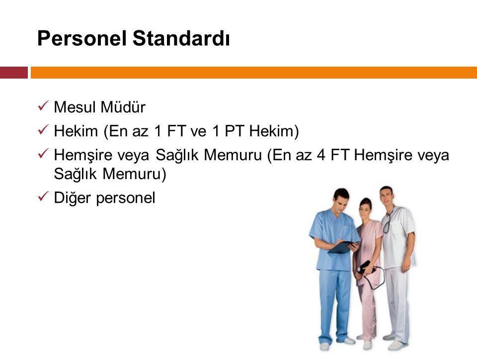 Personel Standardı Mesul Müdür Hekim (En az 1 FT ve 1 PT Hekim)