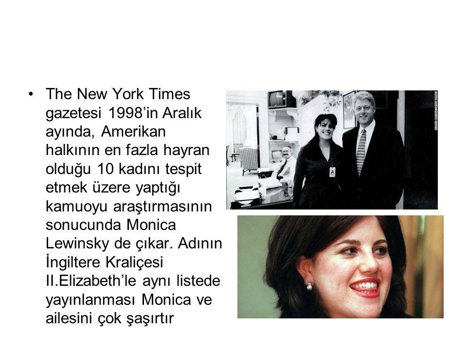 The New York Times gazetesi 1998'in Aralık ayında, Amerikan halkının en fazla hayran olduğu 10 kadını tespit etmek üzere yaptığı kamuoyu araştırmasının sonucunda Monica Lewinsky de çıkar.