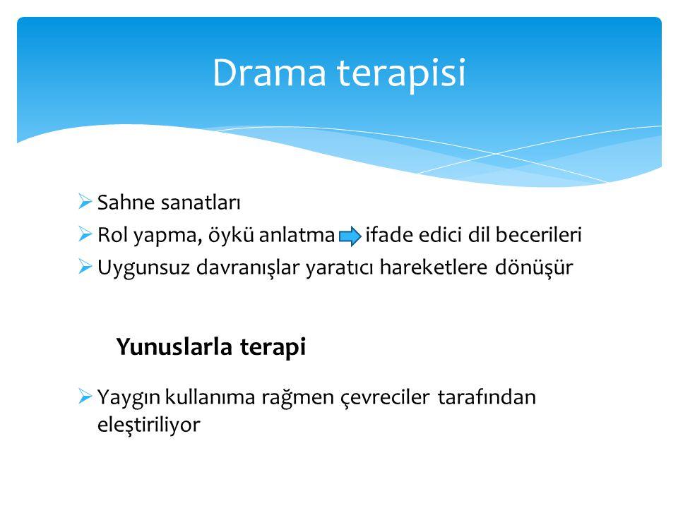 Drama terapisi Yunuslarla terapi Sahne sanatları