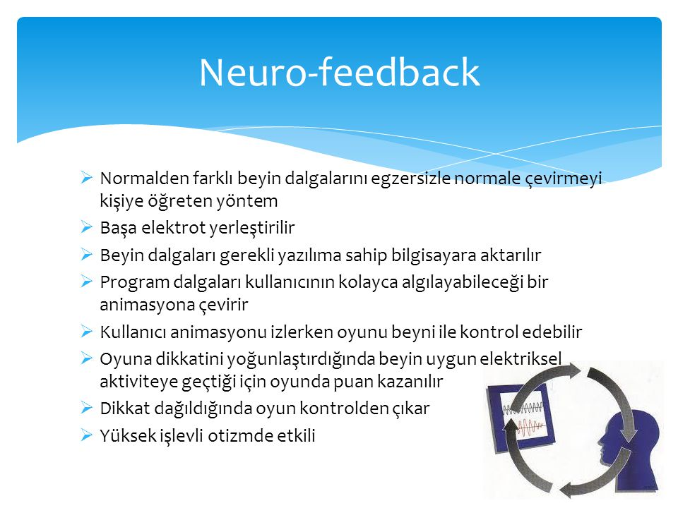 Neuro-feedback Normalden farklı beyin dalgalarını egzersizle normale çevirmeyi kişiye öğreten yöntem.