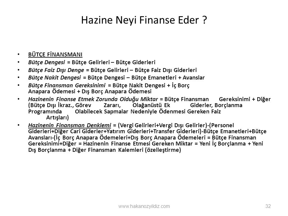 Hazine Neyi Finanse Eder