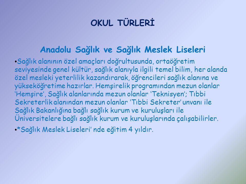 Anadolu Sağlık ve Sağlık Meslek Liseleri