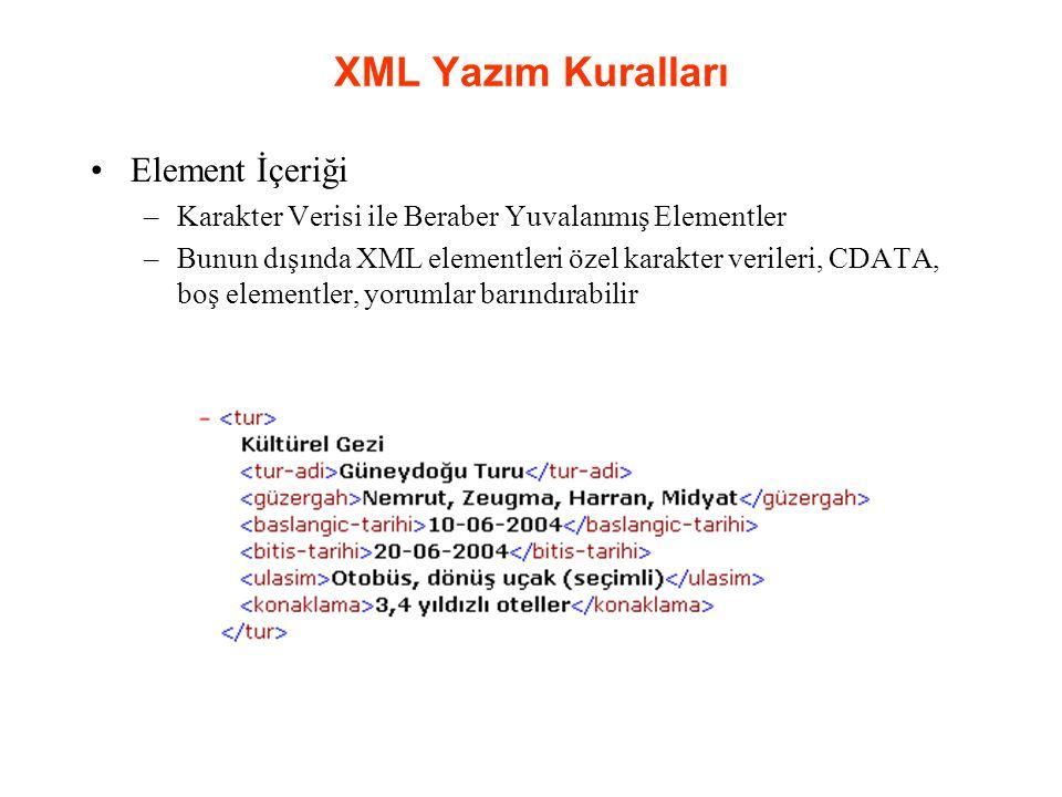 XML Yazım Kuralları Element İçeriği