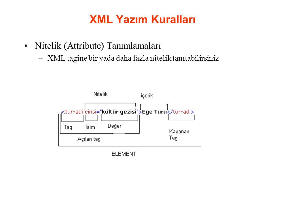 XML Yazım Kuralları Nitelik (Attribute) Tanımlamaları