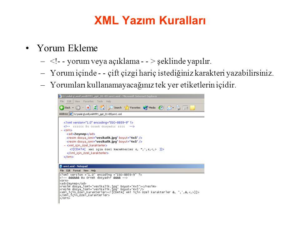 XML Yazım Kuralları Yorum Ekleme