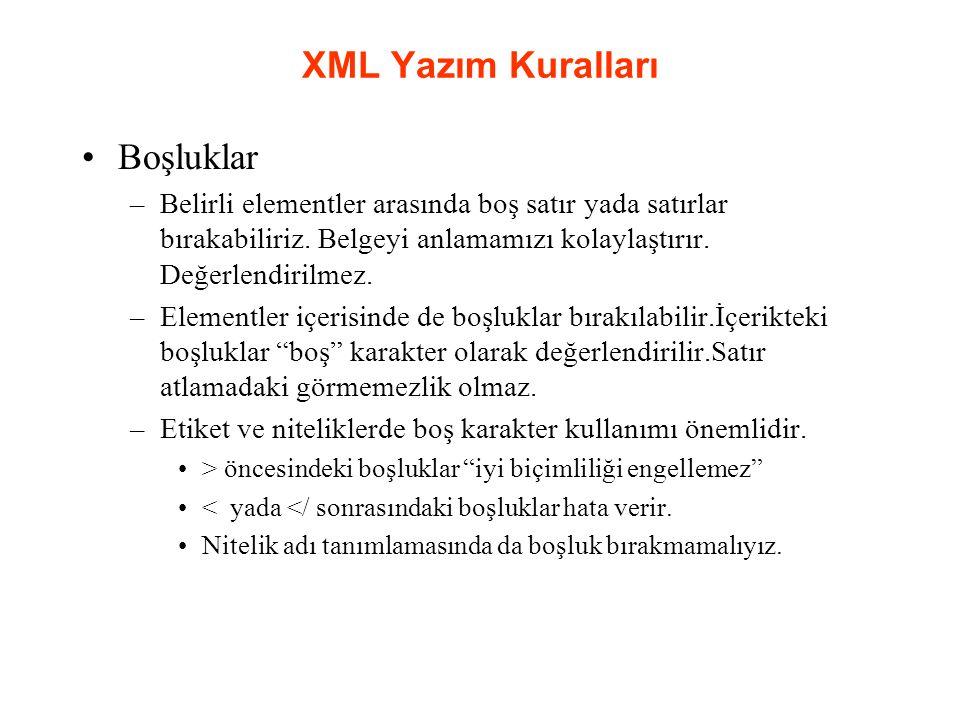 XML Yazım Kuralları Boşluklar