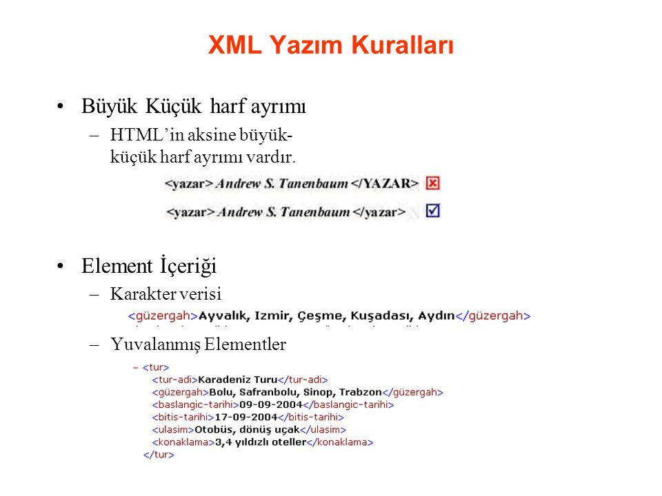 XML Yazım Kuralları Büyük Küçük harf ayrımı Element İçeriği