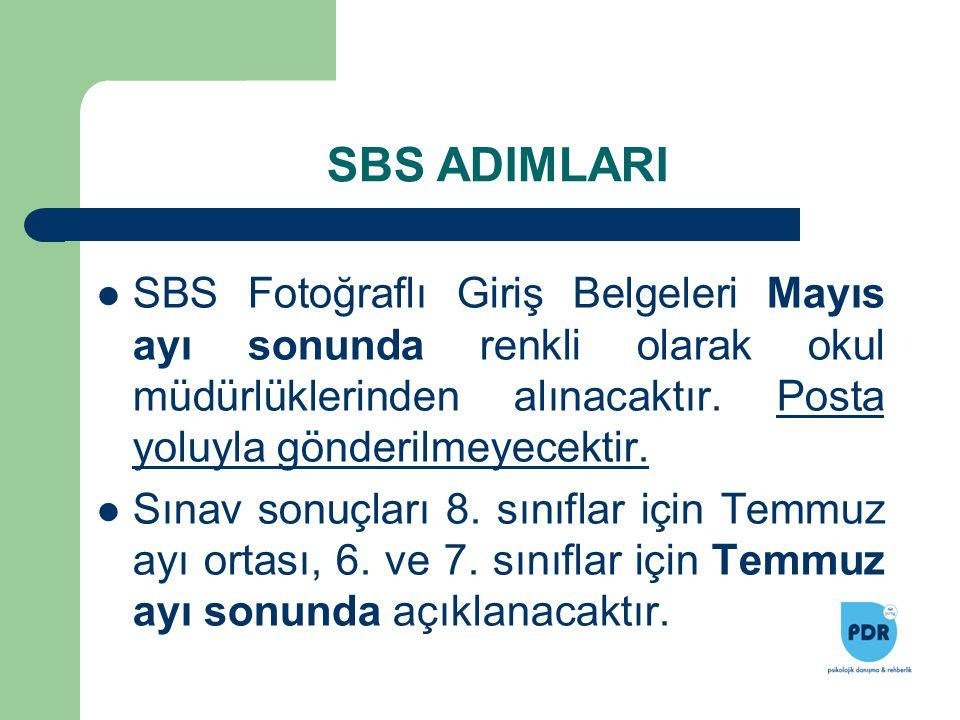 SBS ADIMLARI SBS Fotoğraflı Giriş Belgeleri Mayıs ayı sonunda renkli olarak okul müdürlüklerinden alınacaktır. Posta yoluyla gönderilmeyecektir.