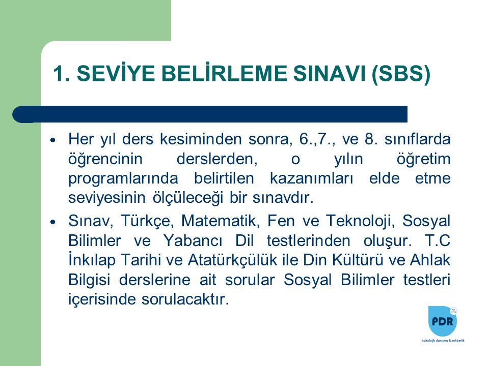 1. SEVİYE BELİRLEME SINAVI (SBS)