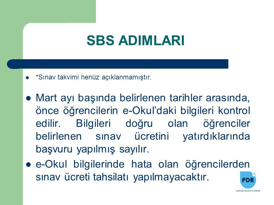 SBS ADIMLARI *Sınav takvimi henüz açıklanmamıştır.
