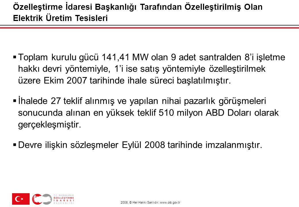 Özelleştirilecek Elektrik Üretim Tesisleri