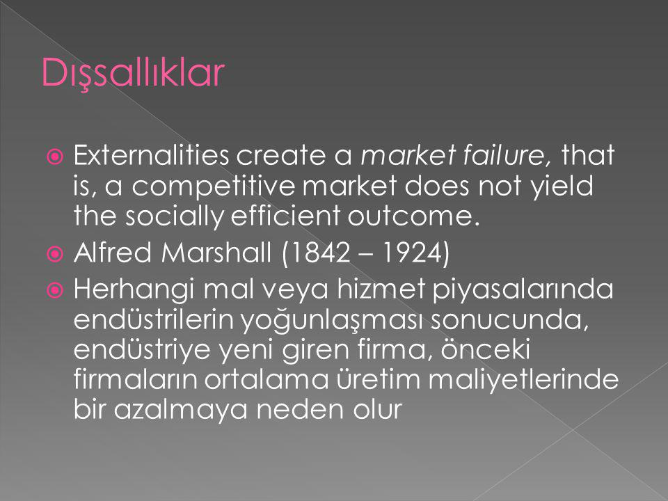 Dışsallıklar Externalities create a market failure, that is, a competitive market does not yield the socially efficient outcome.