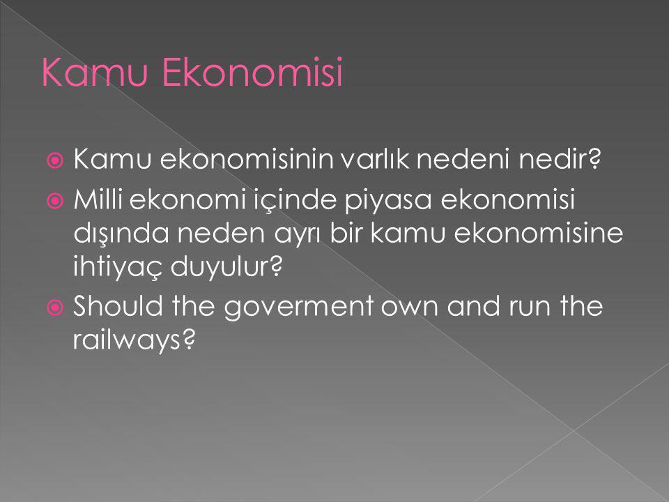 Kamu Ekonomisi Kamu ekonomisinin varlık nedeni nedir