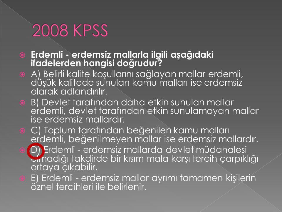 2008 KPSS Erdemli - erdemsiz mallarla ilgili aşağıdaki ifadelerden hangisi doğrudur