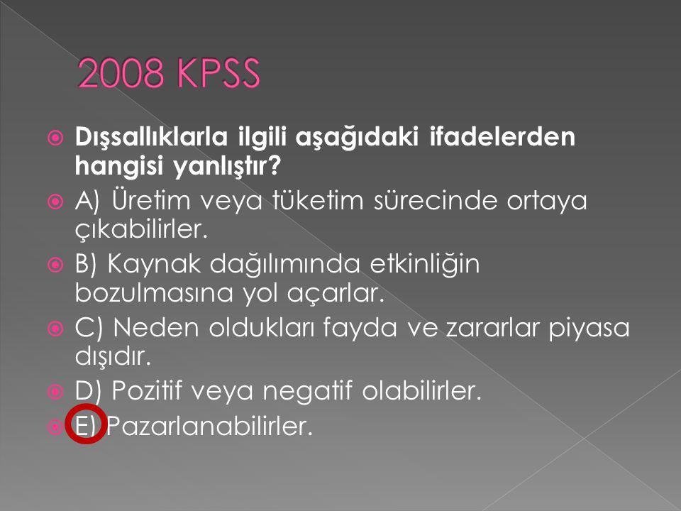2008 KPSS Dışsallıklarla ilgili aşağıdaki ifadelerden hangisi yanlıştır A) Üretim veya tüketim sürecinde ortaya çıkabilirler.