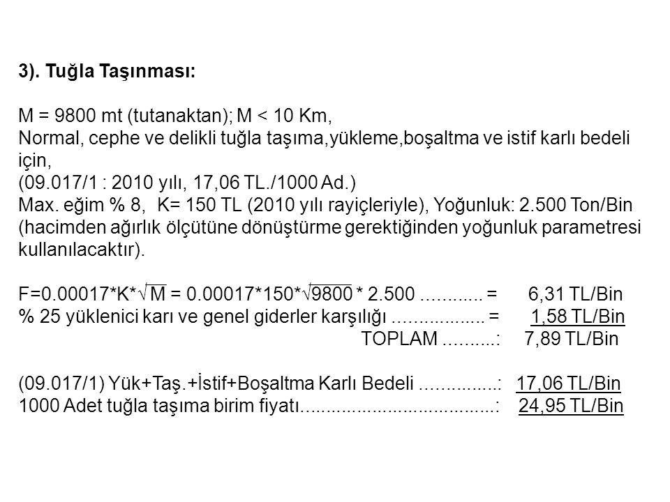 3). Tuğla Taşınması: M = 9800 mt (tutanaktan); M < 10 Km, Normal, cephe ve delikli tuğla taşıma,yükleme,boşaltma ve istif karlı bedeli için,