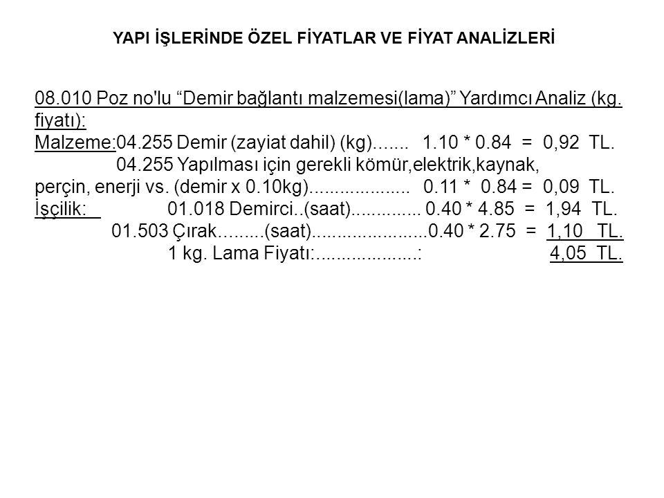 Malzeme:04.255 Demir (zayiat dahil) (kg)....... 1.10 * 0.84 = 0,92 TL.