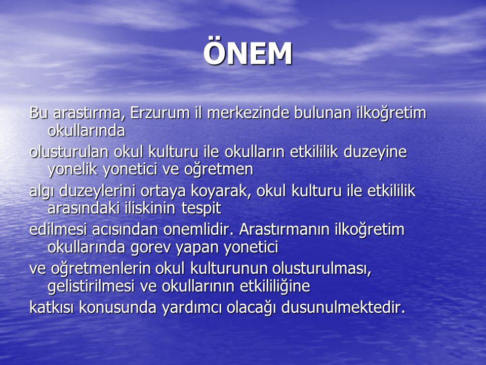 ÖNEM Bu arastırma, Erzurum il merkezinde bulunan ilkoğretim okullarında.
