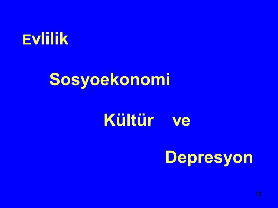 Evlilik Sosyoekonomi Kültür ve Depresyon