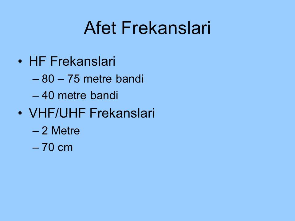 Afet Frekanslari HF Frekanslari VHF/UHF Frekanslari