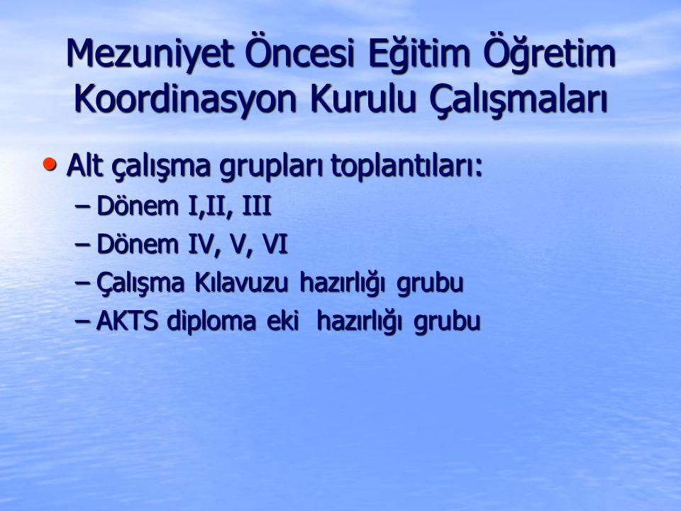Mezuniyet Öncesi Eğitim Öğretim Koordinasyon Kurulu Çalışmaları