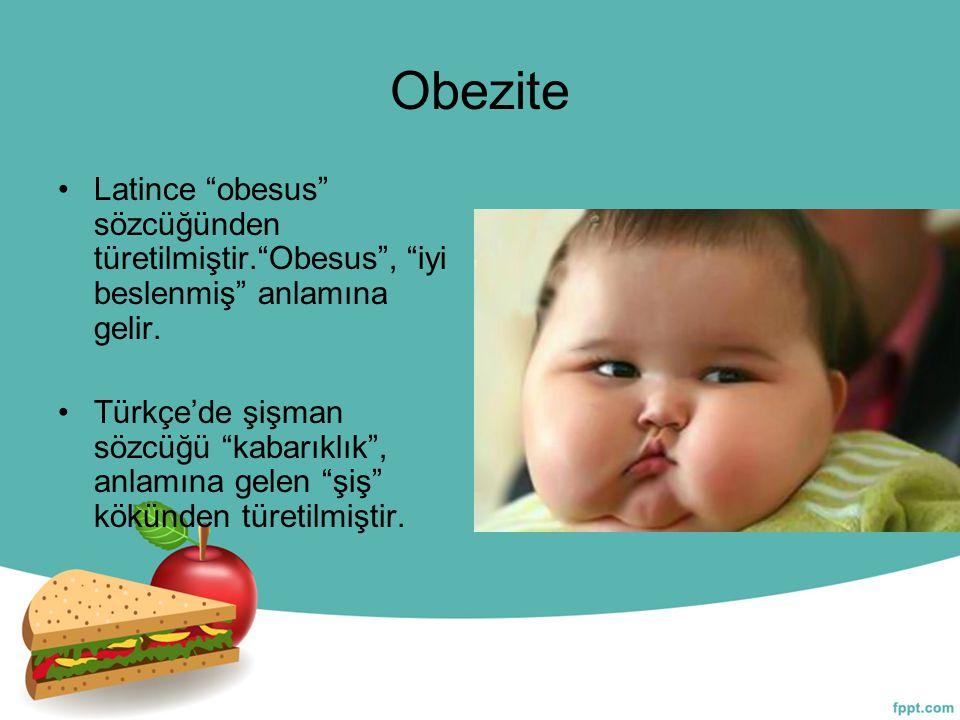 Obezite Latince obesus sözcüğünden türetilmiştir. Obesus , iyi beslenmiş anlamına gelir.