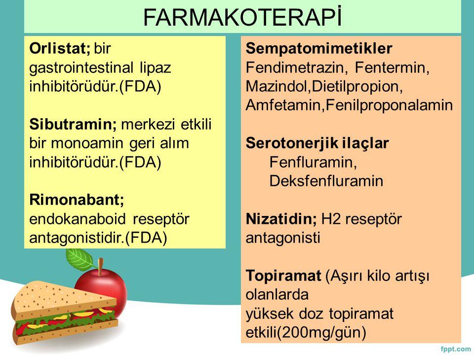 FARMAKOTERAPİ Orlistat; bir gastrointestinal lipaz inhibitörüdür.(FDA)