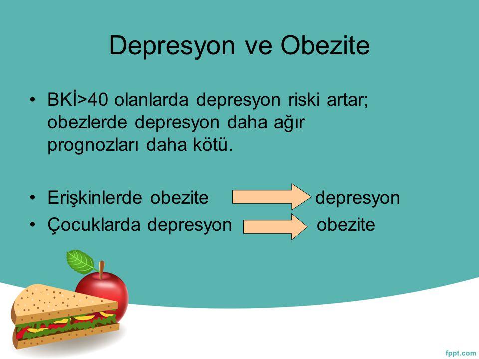 Depresyon ve Obezite BKİ>40 olanlarda depresyon riski artar; obezlerde depresyon daha ağır prognozları daha kötü.