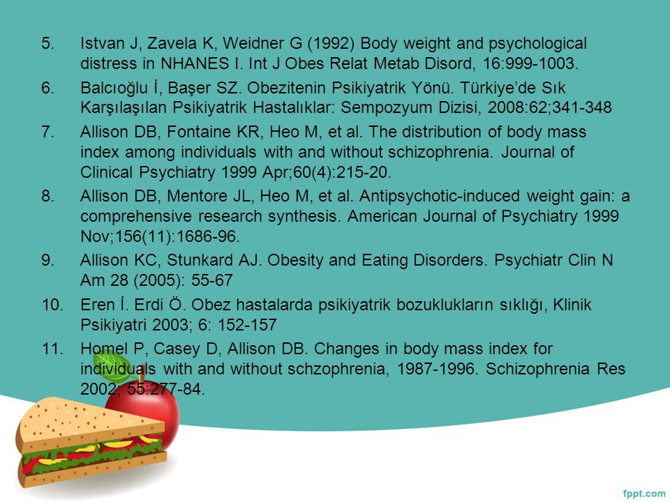 Istvan J, Zavela K, Weidner G (1992) Body weight and psychological distress in NHANES I. Int J Obes Relat Metab Disord, 16:999-1003.