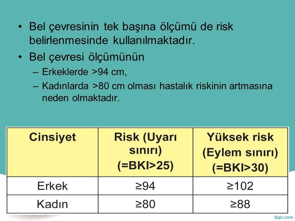 Bel çevresinin tek başına ölçümü de risk belirlenmesinde kullanılmaktadır.