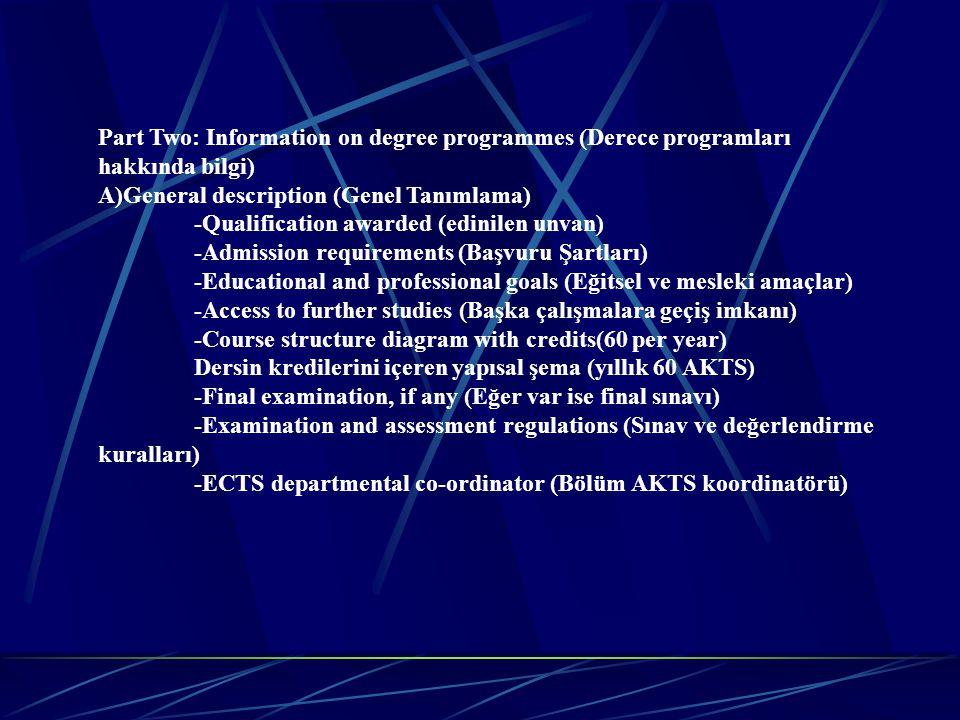 Part Two: Information on degree programmes (Derece programları hakkında bilgi)