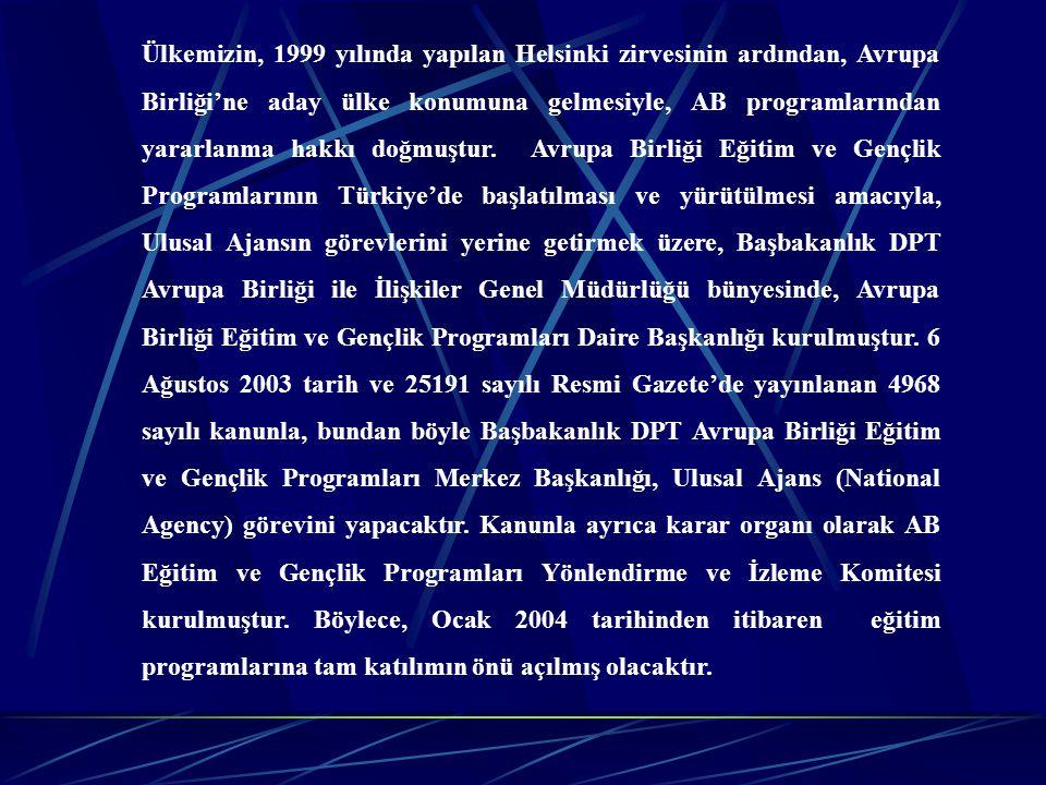 Ülkemizin, 1999 yılında yapılan Helsinki zirvesinin ardından, Avrupa Birliği'ne aday ülke konumuna gelmesiyle, AB programlarından yararlanma hakkı doğmuştur.