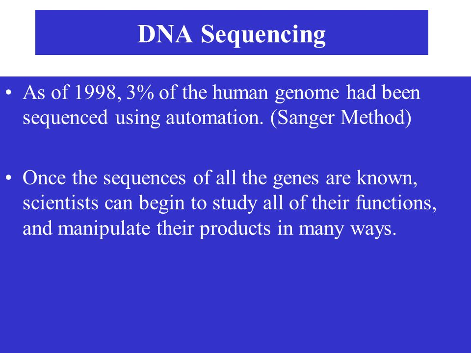 DNA Sequencing As of 1998, 3% of the human genome had been sequenced using automation. (Sanger Method)