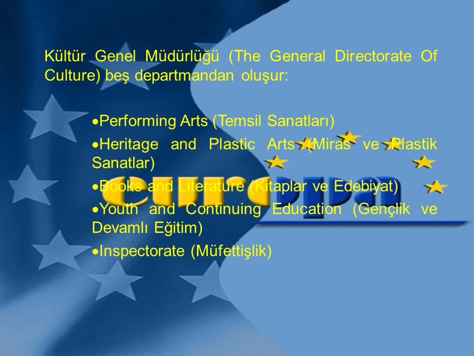 Kültür Genel Müdürlüğü (The General Directorate Of Culture) beş departmandan oluşur: