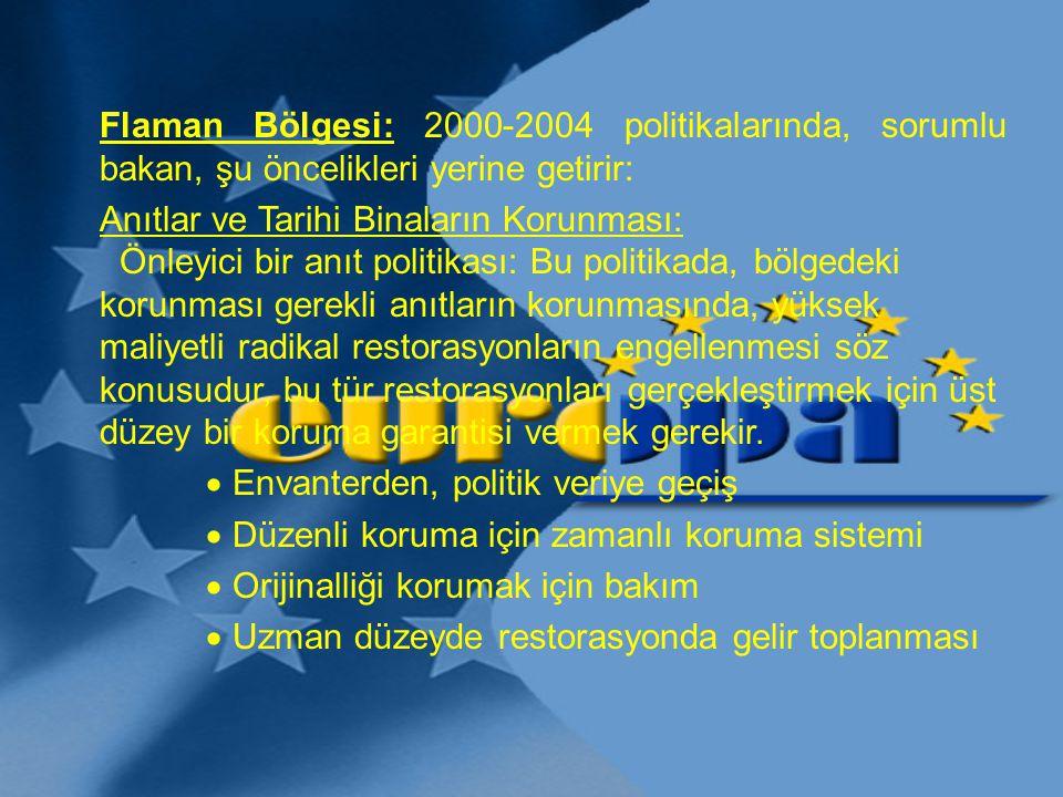 Flaman Bölgesi: 2000-2004 politikalarında, sorumlu bakan, şu öncelikleri yerine getirir: