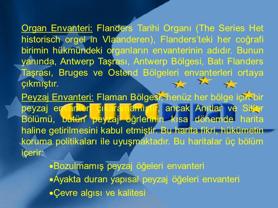 Organ Envanteri: Flanders Tarihi Organı (The Series Het historisch orgel in Vlaanderen), Flanders'teki her coğrafi birimin hükmündeki organların envanterinin adıdır. Bunun yanında, Antwerp Taşrası, Antwerp Bölgesi, Batı Flanders Taşrası, Bruges ve Ostend Bölgeleri envanterleri ortaya çıkmıştır.