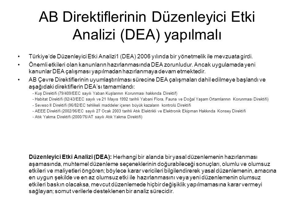 AB Direktiflerinin Düzenleyici Etki Analizi (DEA) yapılmalı