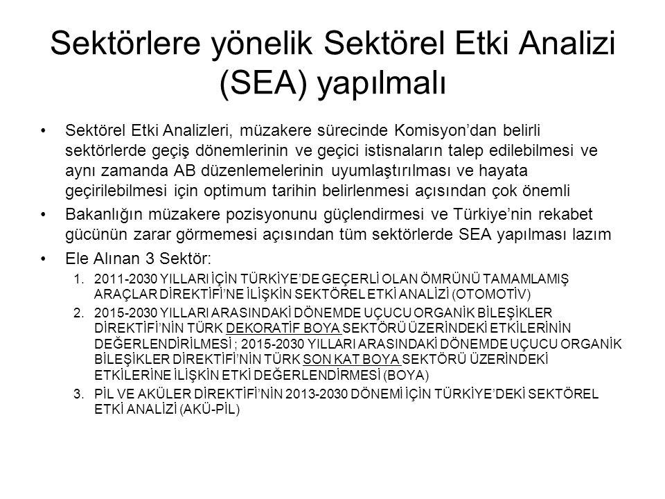 Sektörlere yönelik Sektörel Etki Analizi (SEA) yapılmalı