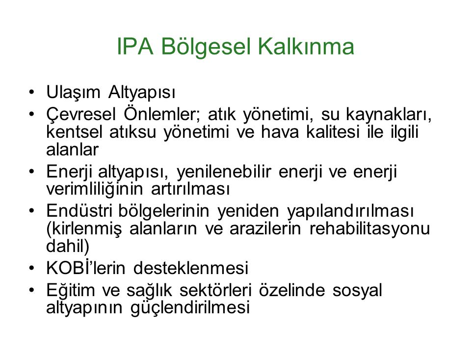 IPA Bölgesel Kalkınma Ulaşım Altyapısı