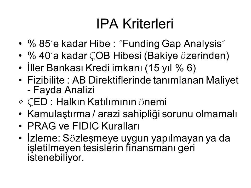 IPA Kriterleri % 85'e kadar Hibe : Funding Gap Analysis