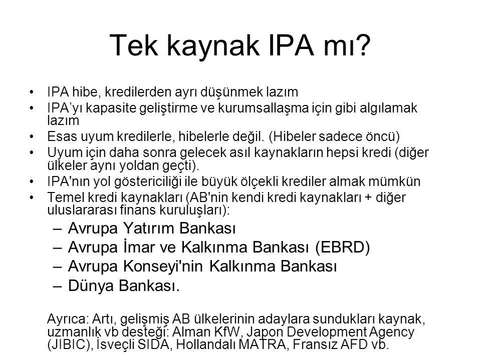 Tek kaynak IPA mı Avrupa Yatırım Bankası